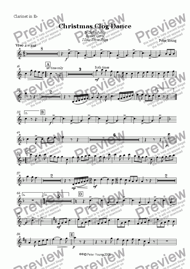 page one of the Clarinet in Eb part from Christmas Clog Dance (Wind Band version)