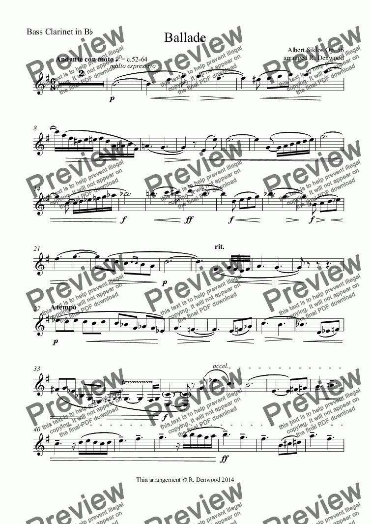 page one of the Bass Clarinet in B^b part from Siklos - Ballade Op 56 for Bass Clarinet and piano