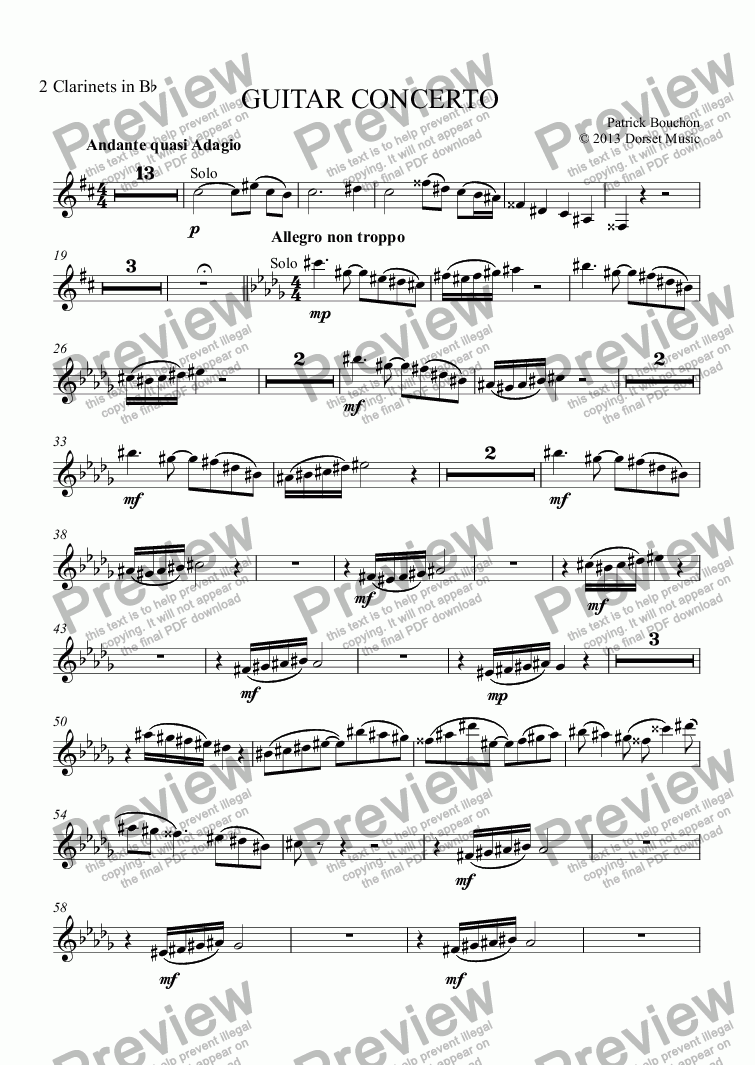 page one of the 2 Clarinets in Bb part from Guitar Concerto - 1st Movement