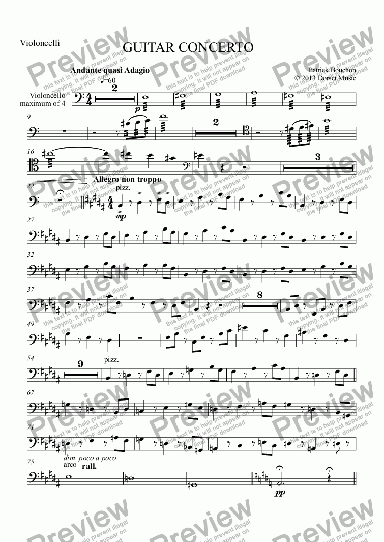 page one of the Violoncello maximum of 4 part from Guitar Concerto - 1st Movement