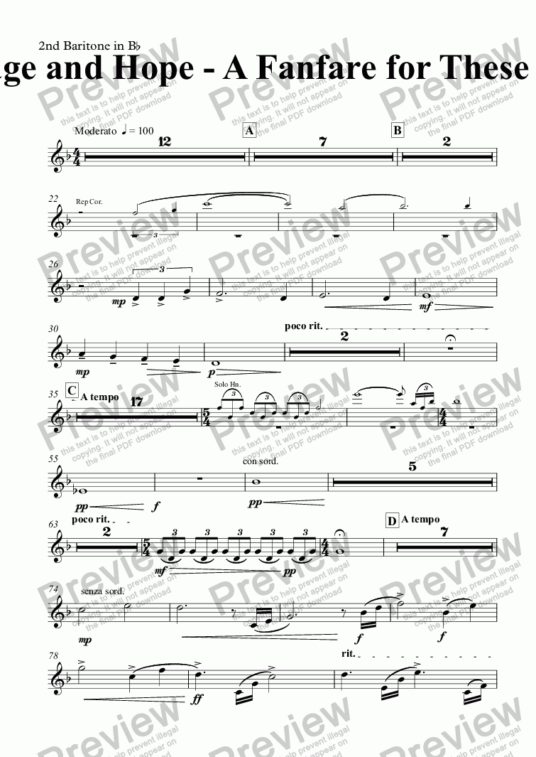 page one of the 2nd Baritone in B^b part from Courage and Hope - A Fanfare for These Times