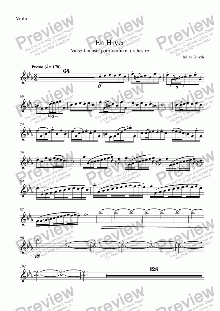 page one of the Violin part from En Hiver