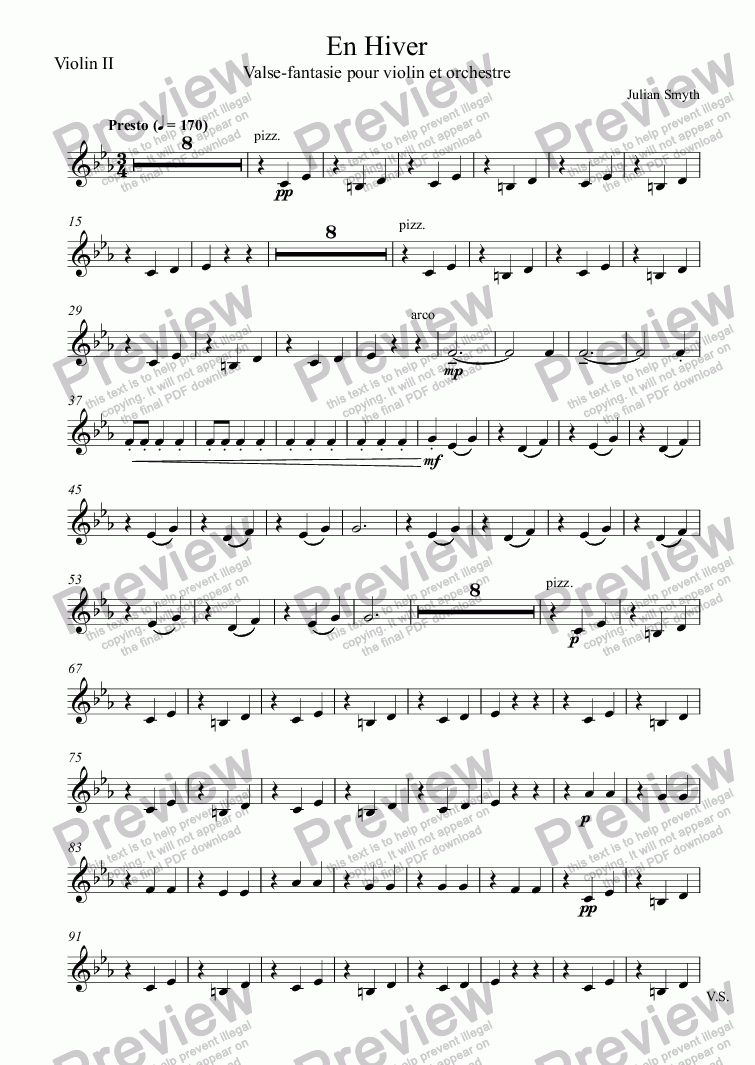 page one of the Violin II part from En Hiver