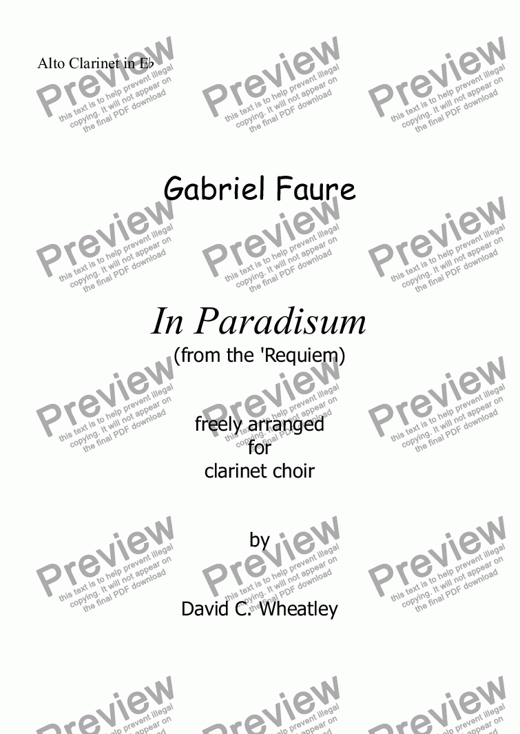 page one of the Alto Clarinet in Eb part from Faure - In Paradisum (Requiem) for clarinet choir