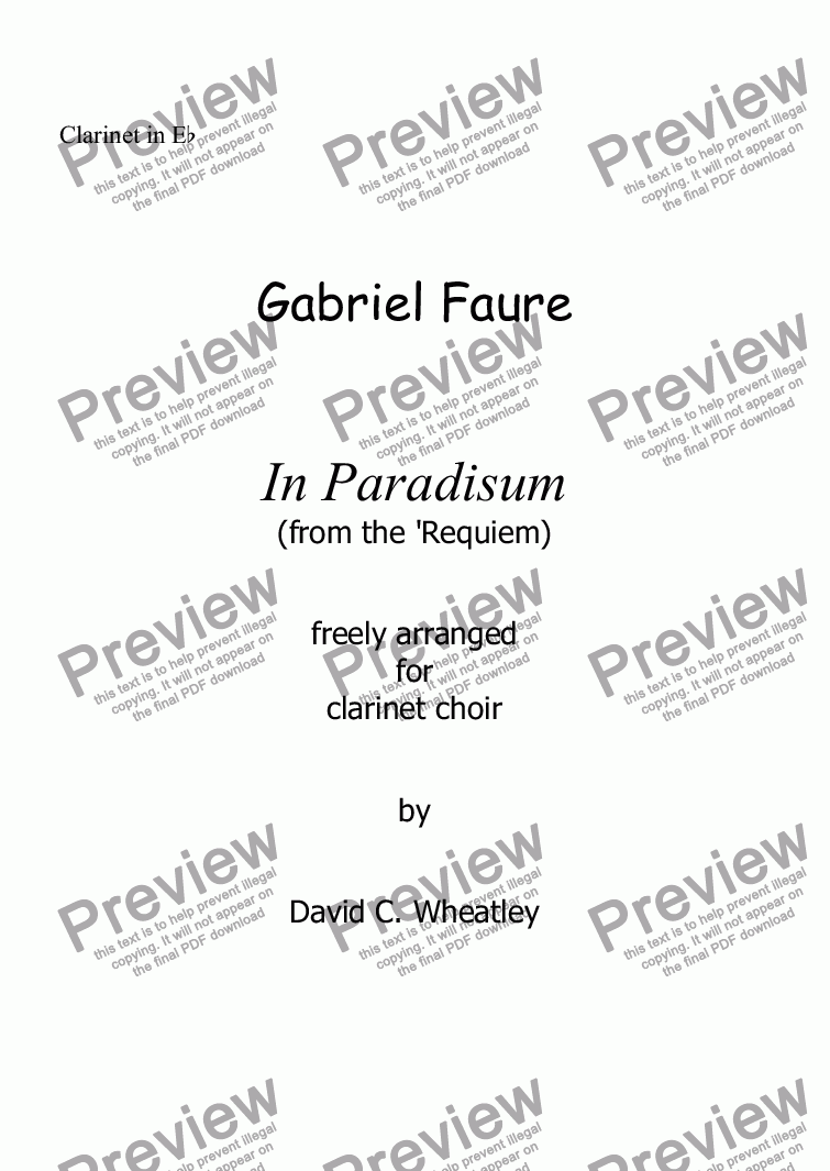 page one of the Clarinet in Eb part from Faure - In Paradisum (Requiem) for clarinet choir