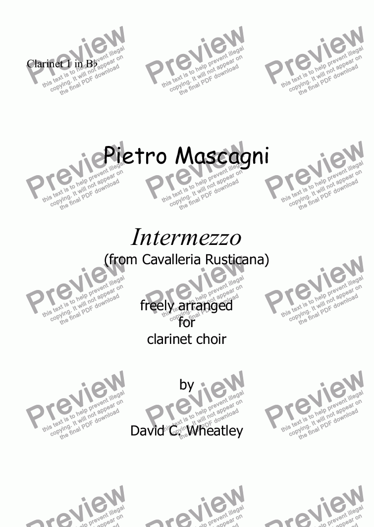page one of the Clarinet 1 in Bb part from Mascagni - Intermezzo (from Cavalleria Rusticana) for clarinet choir