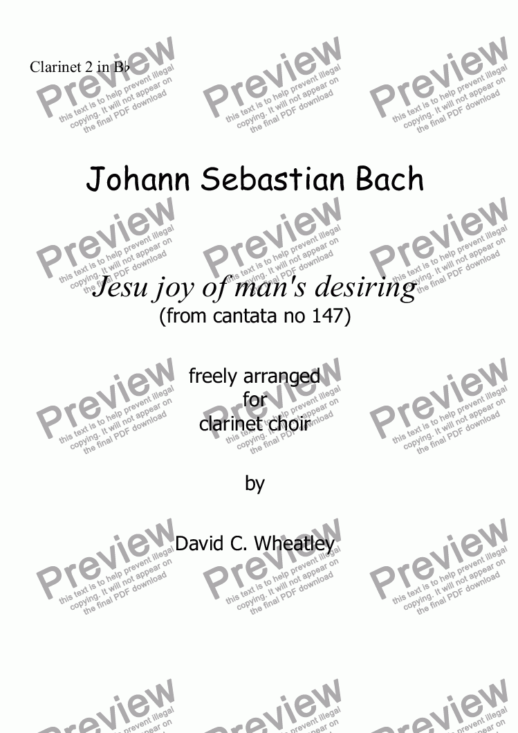 page one of the Clarinet 2 in Bb part from Bach - Jesu joy of man's desiring Bach for clarinet choir