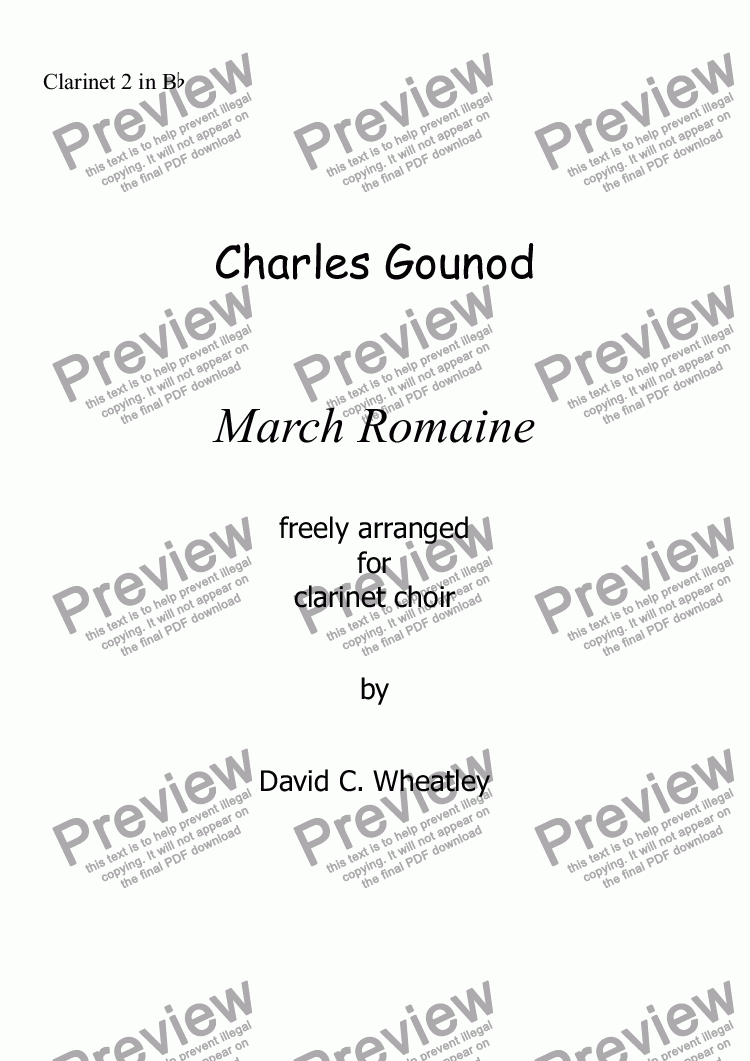 page one of the Clarinet 2 in Bb part from Gounod - March Romaine for clarinet choir