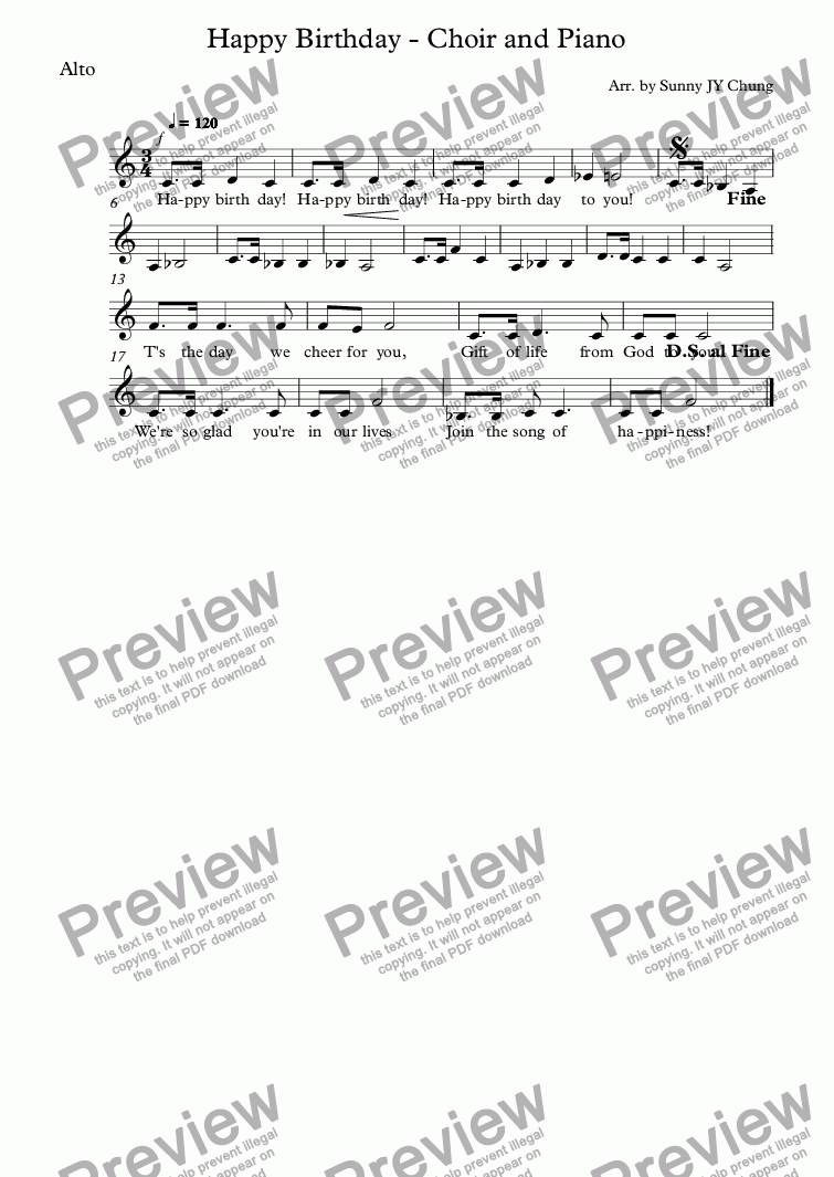 page one of the Alto part from Happy Birthday - Choir and Piano
