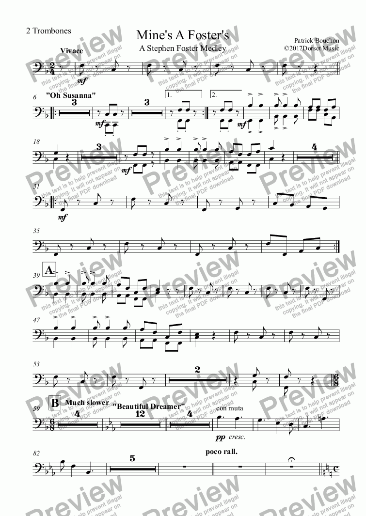 page one of the 2 Trombones part from Mine's A Foster's - A Stephen Foster Medley (SATB+Orchestra)
