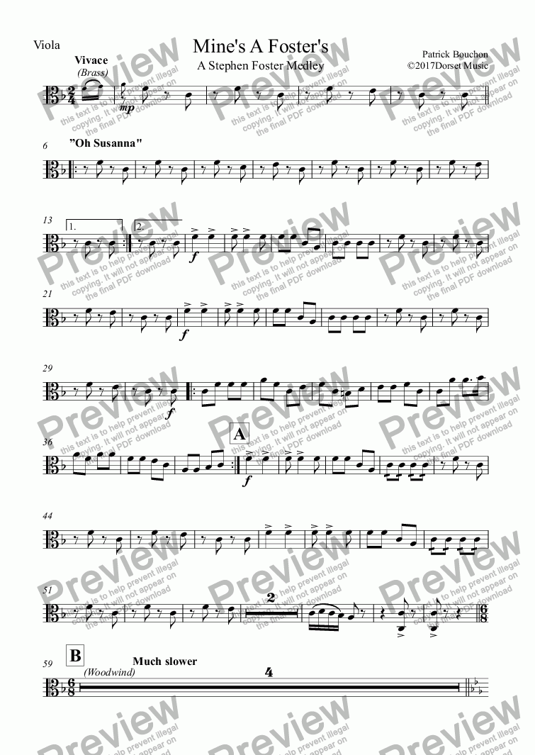 page one of the Viola part from Mine's A Foster's - A Stephen Foster Medley (SATB+Orchestra)