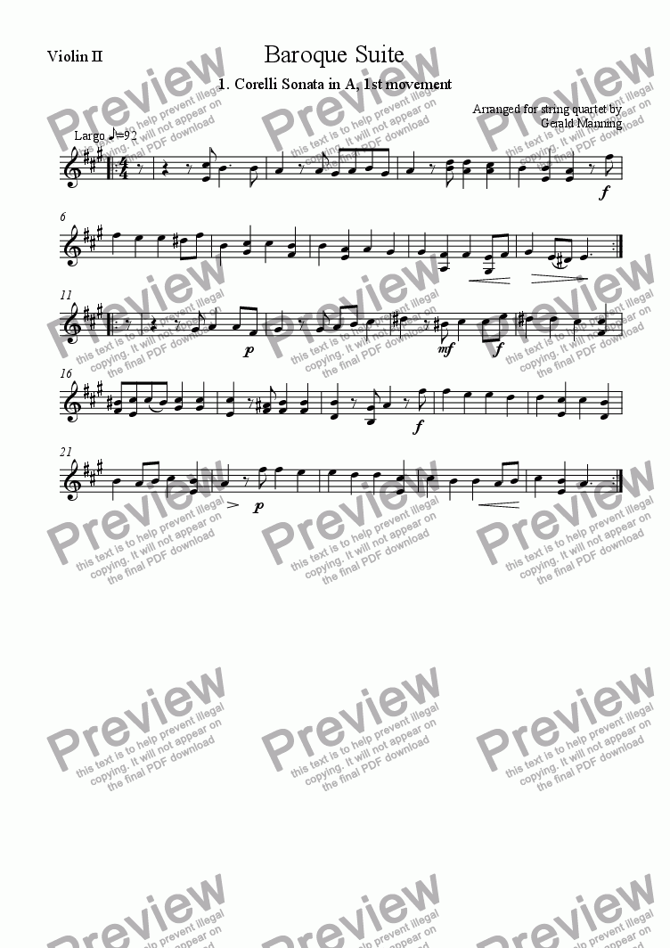 page one of the Violin II part from Baroque Suite - 1. Arcangelo Corelli Preludio: Sonata in A, 1st Movement -arr. for string quartet