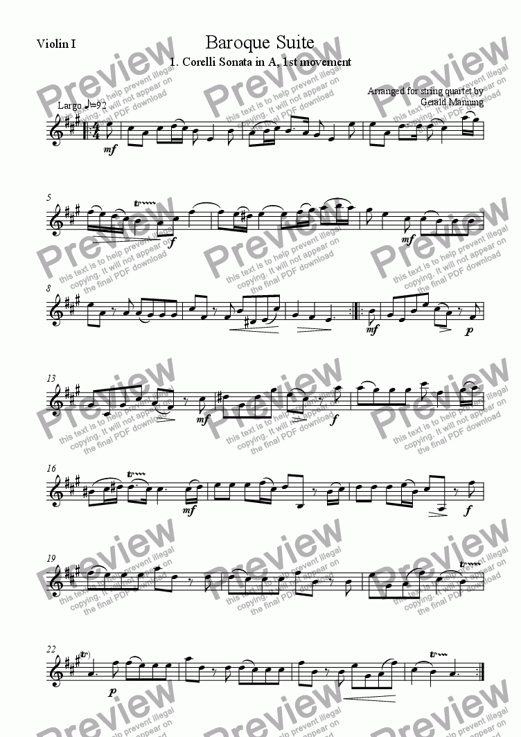 page one of the Violin I part from Baroque Suite - 1. Arcangelo Corelli Preludio: Sonata in A, 1st Movement -arr. for string quartet