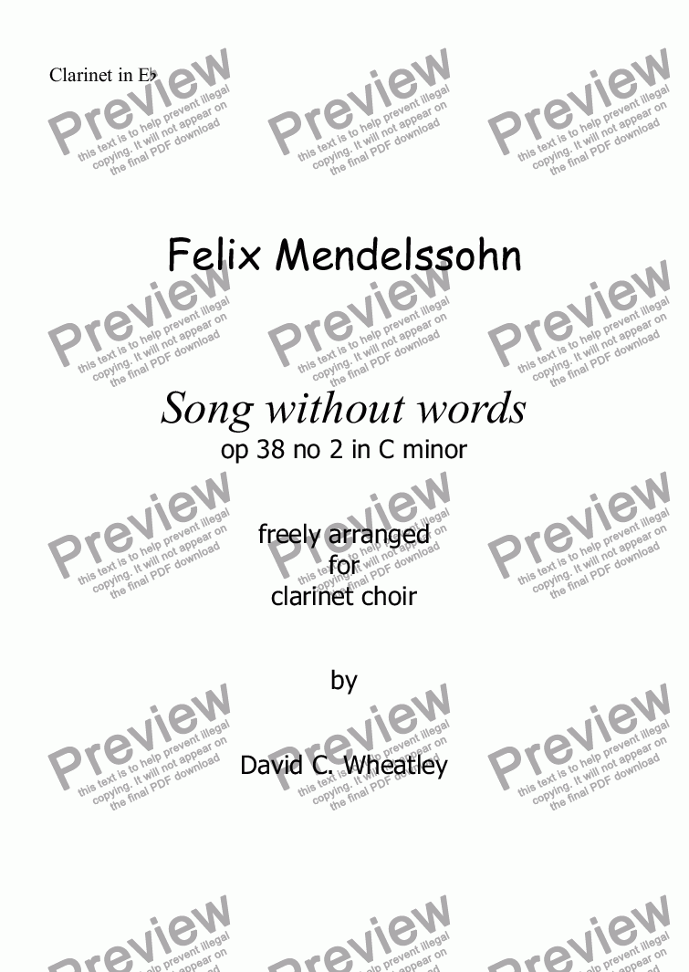 page one of the Clarinet in Eb part from Mendelssohn -Song without words (op 38 no 2) for clarinet choir