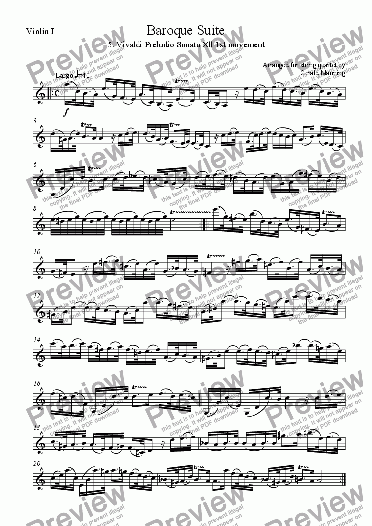 page one of the Violin I part from Baroque Suite - 5. Antonio Vivaldi Largo: Sonata Xll in A minor RV32 - arr.for string quartet
