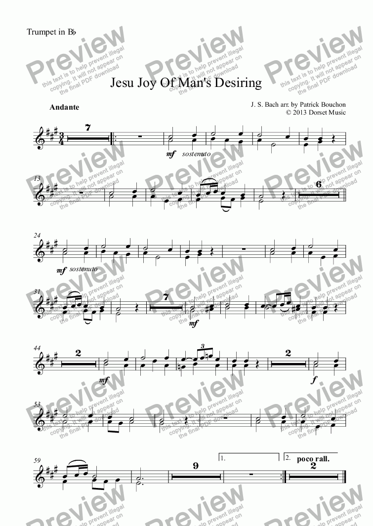 page one of the Trumpet in Bb part from Jesu Joy Of Man's Desiring