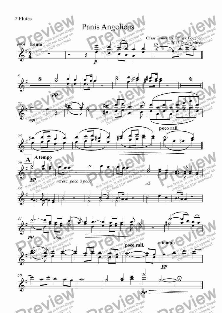 page one of the 2 Flutes part from Panis Angelicus - Cesar Franck