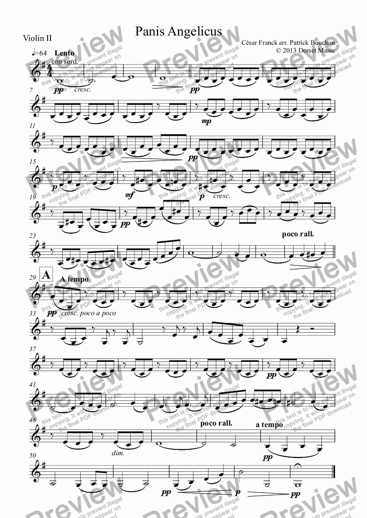 page one of the Violin II part from Panis Angelicus - Cesar Franck