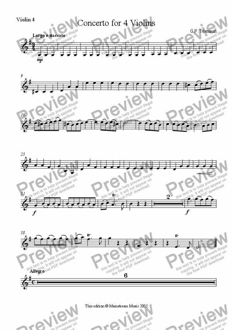 page one of the Violin 4 part from Concerto for 4 Violins