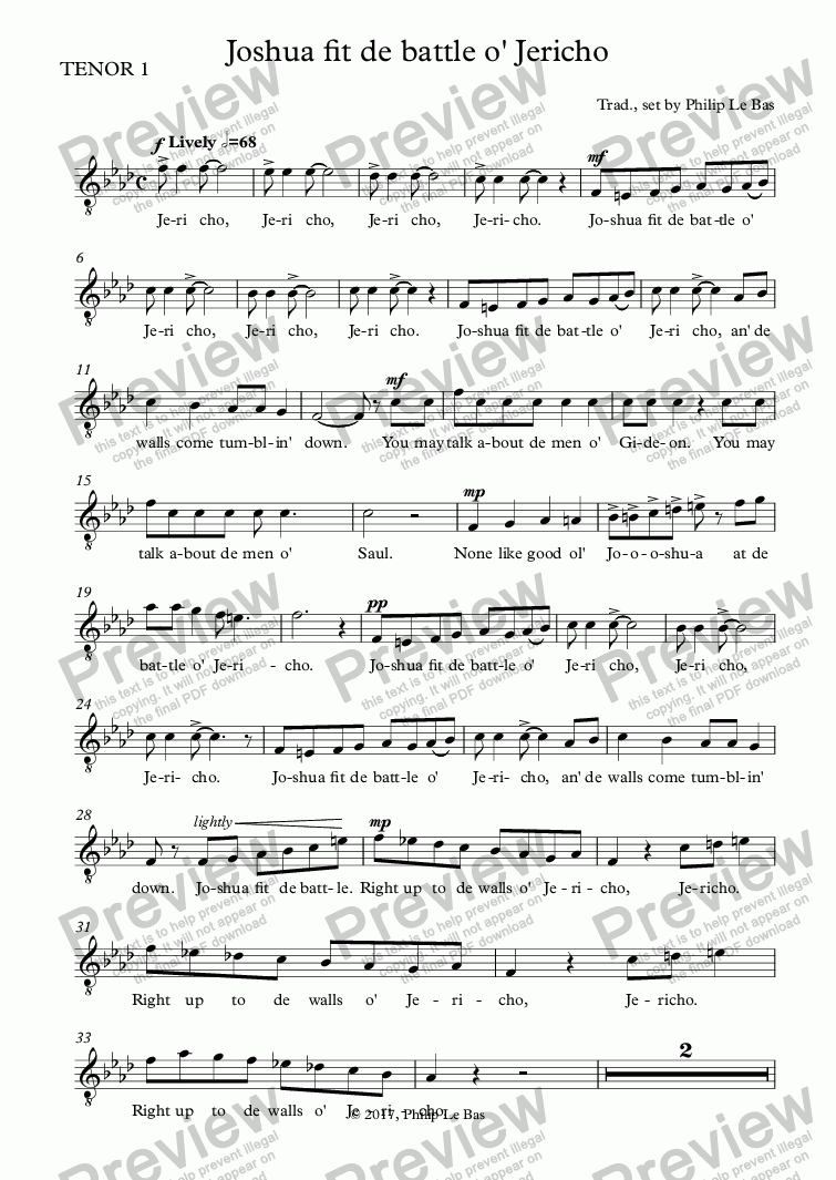 page one of the TENOR 1 part from Joshua fit de battle o' Jericho
