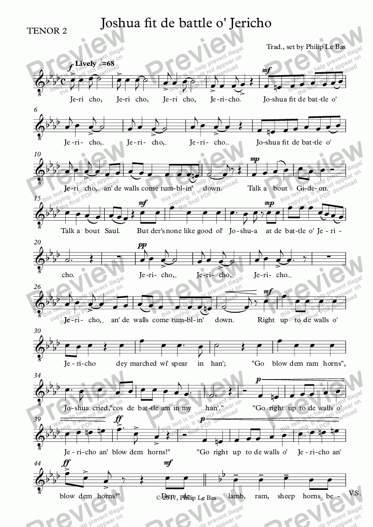 page one of the TENOR 2 part from Joshua fit de battle o' Jericho