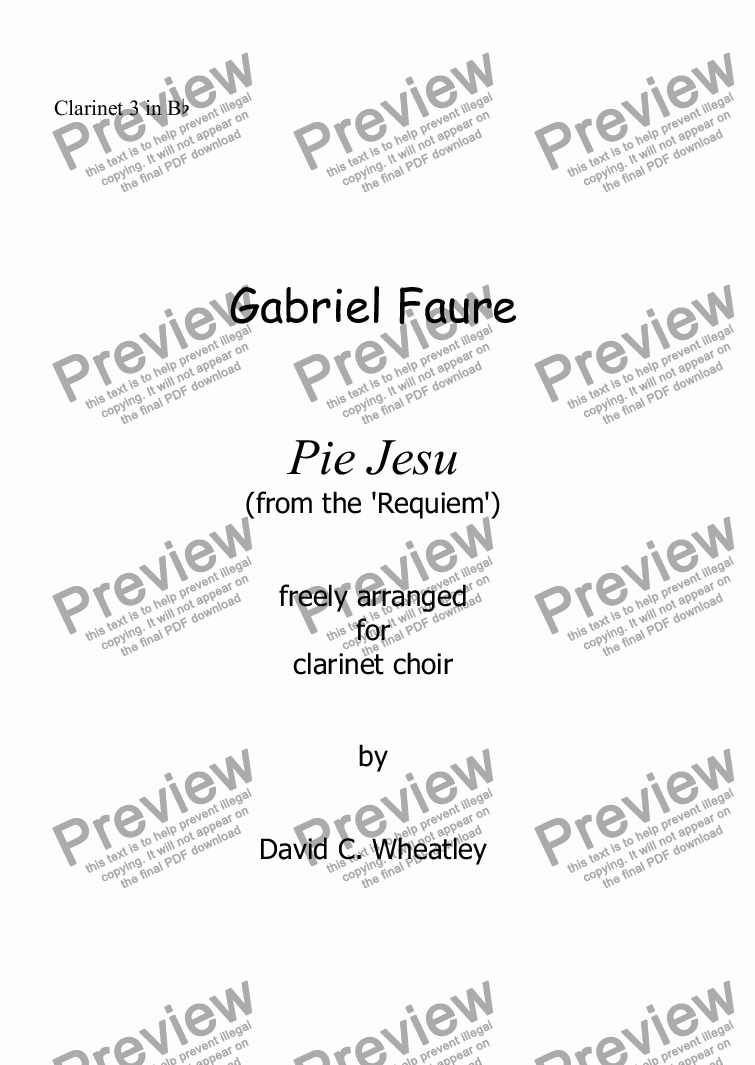 page one of the Clarinet 3 in Bb part from Faure - Pie Jesu (Requiem) for clarinet choir