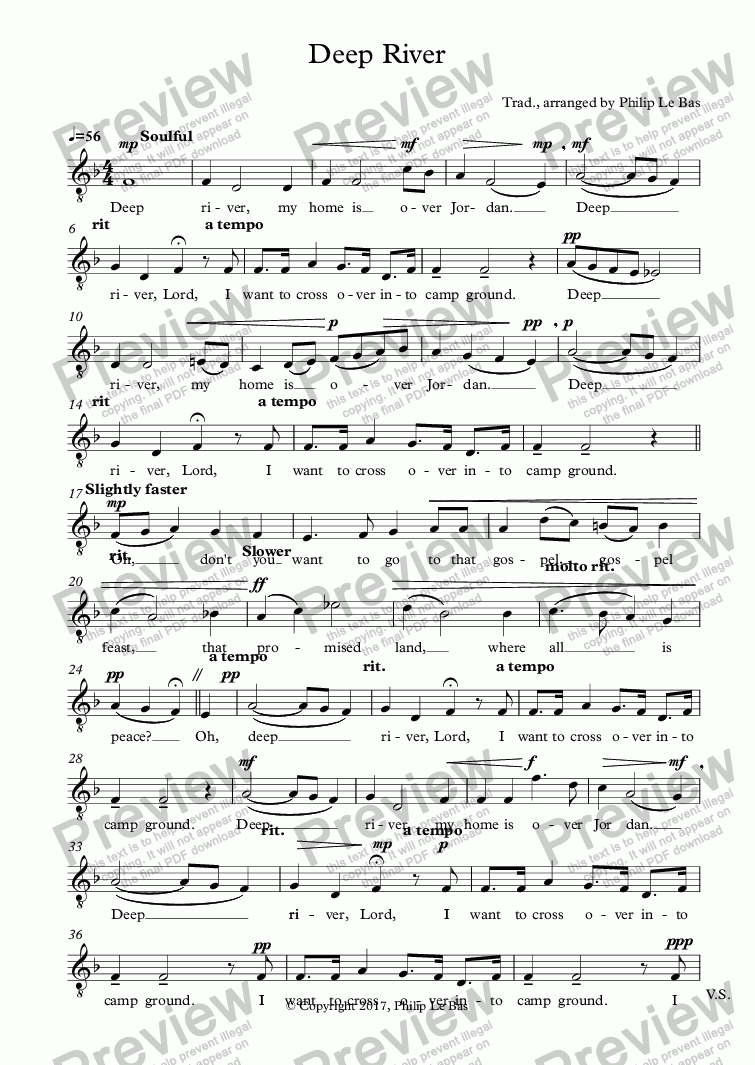 page one of the TENOR 2 part from Deep River