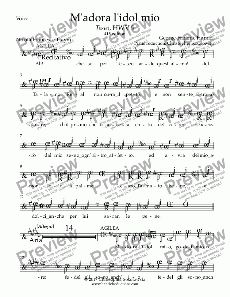 page one of the Voice part from M'adora l'idol mio