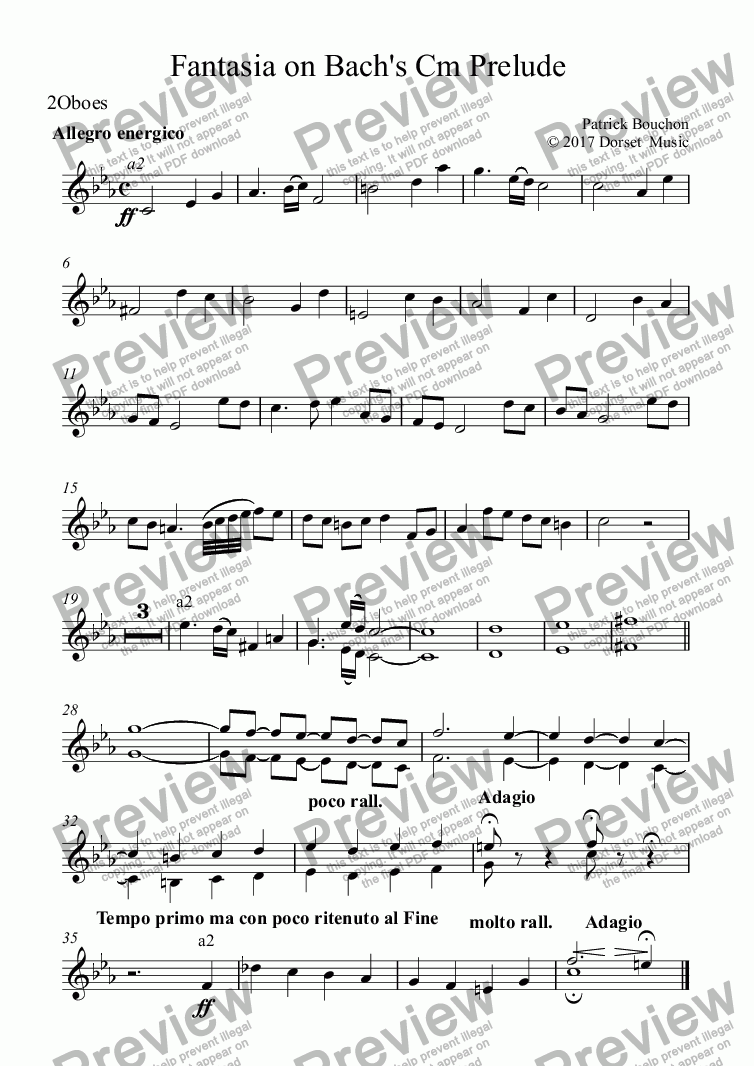 page one of the 2Oboes part from Prelude 4 in C#minor (Bach - Das Wohltempirte Klavier)