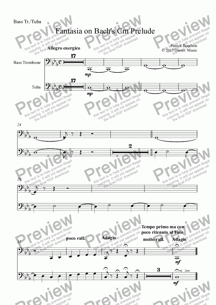 page one of the Bass Trombone part from Prelude 4 in C#minor (Bach - Das Wohltempirte Klavier)
