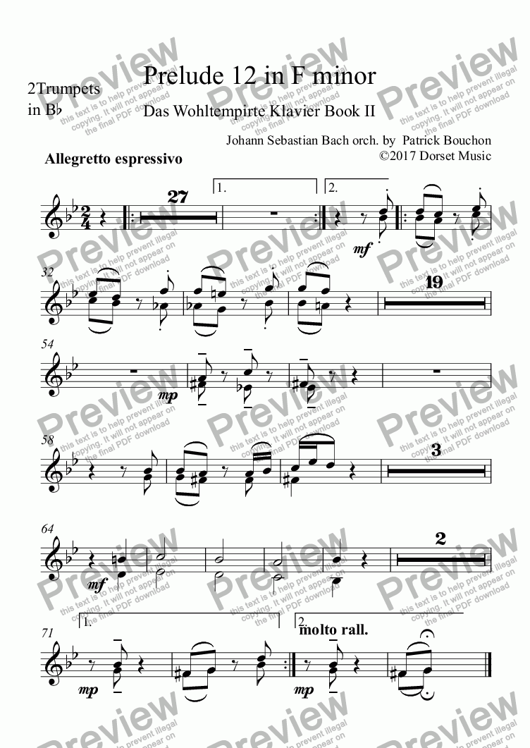 page one of the 2Trumpets in Bb part from Prelude 12 in F minor (Bach - Das Wohltempirte Klavier)