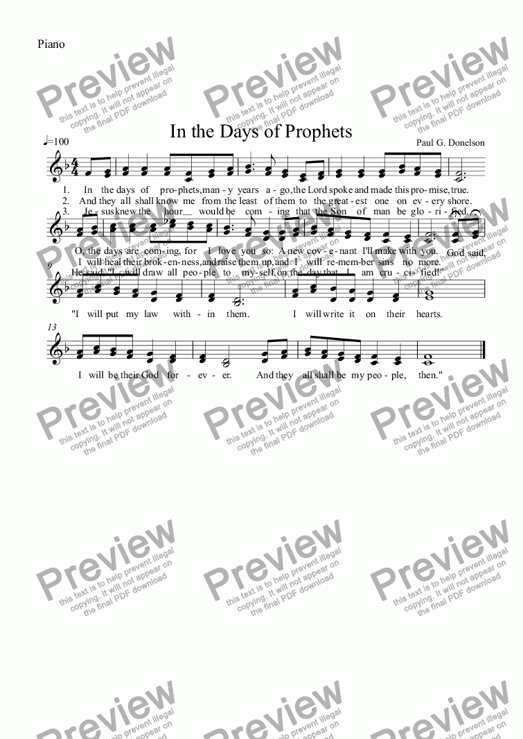 page one of the Piano part from In the Days of Prophets