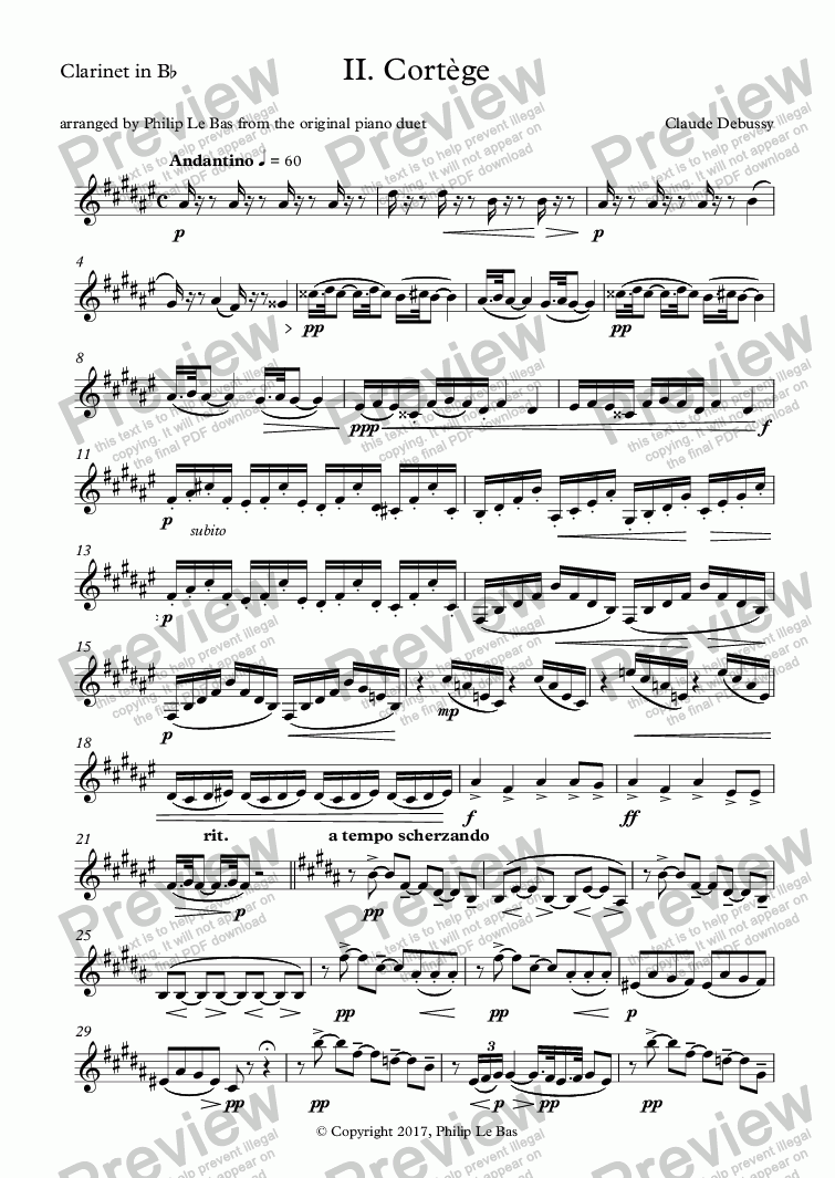 page one of the Clarinet in B^b part from II. Cortège