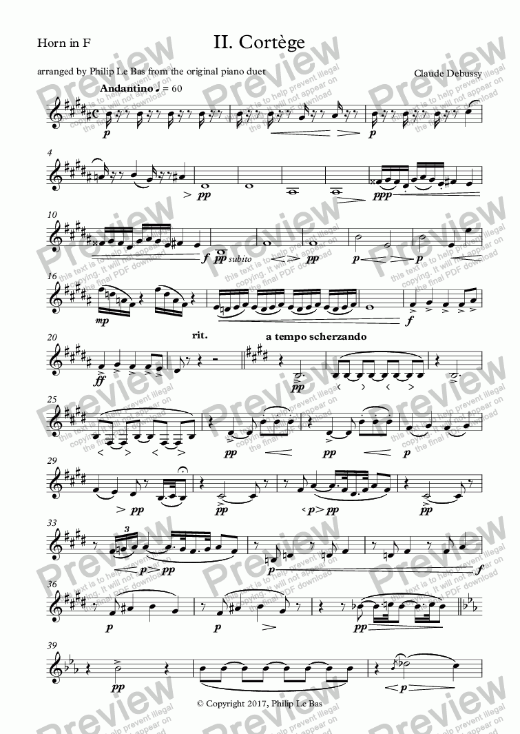page one of the Horn in F part from II. Cortège