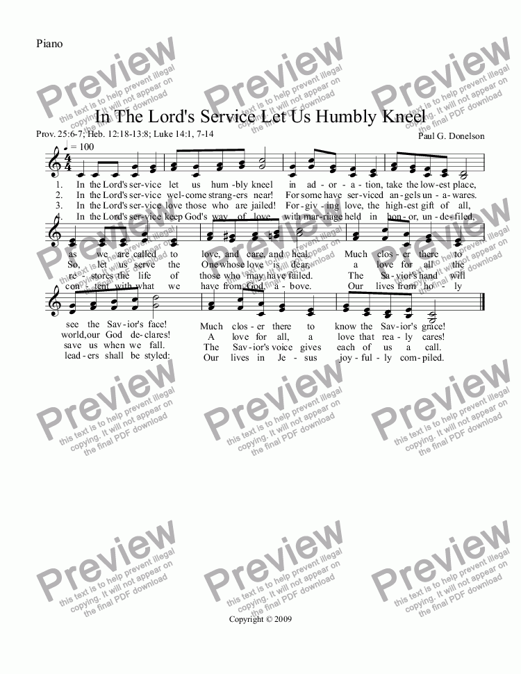 page one of the Piano part from In The Lord's Service Let Us Humbly Kneel