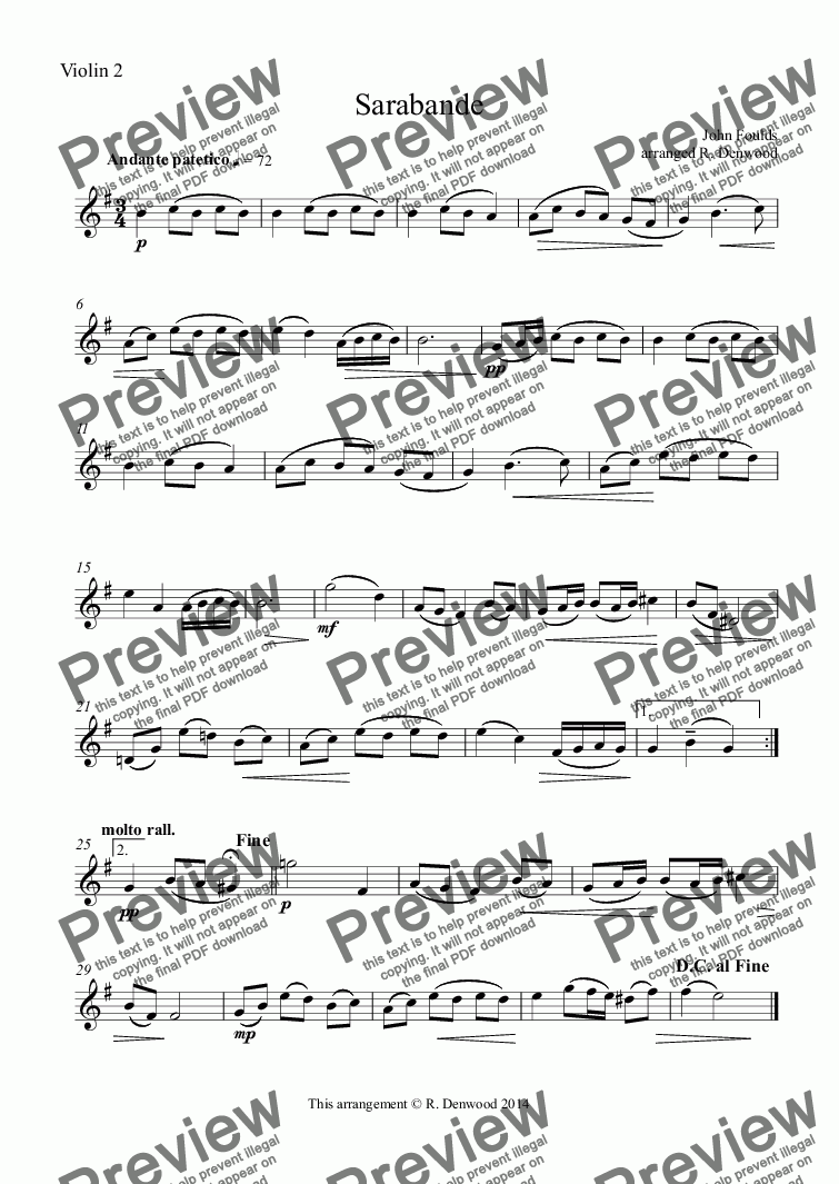 page one of the Violin 2 part from Foulds - Sarabande for string quartet or string orchestra