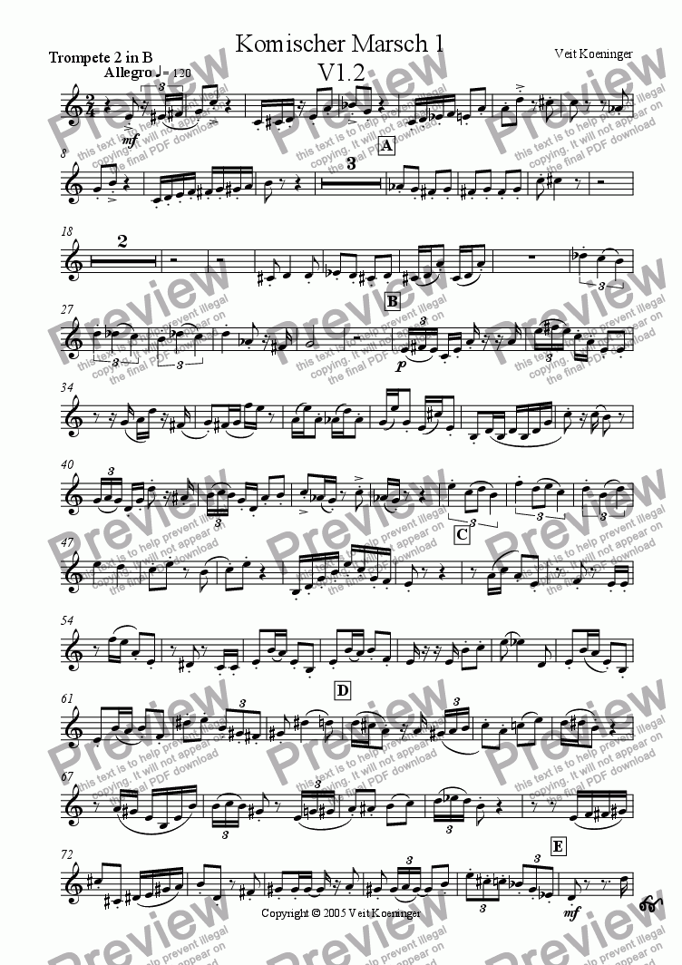 page one of the trumpet 2 in Bb part from Comical march 1 for brass quintet