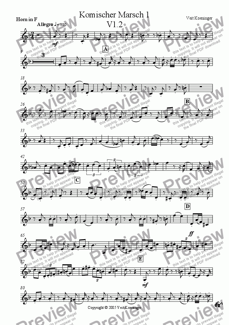 page one of the horn in F part from Comical march 1 for brass quintet