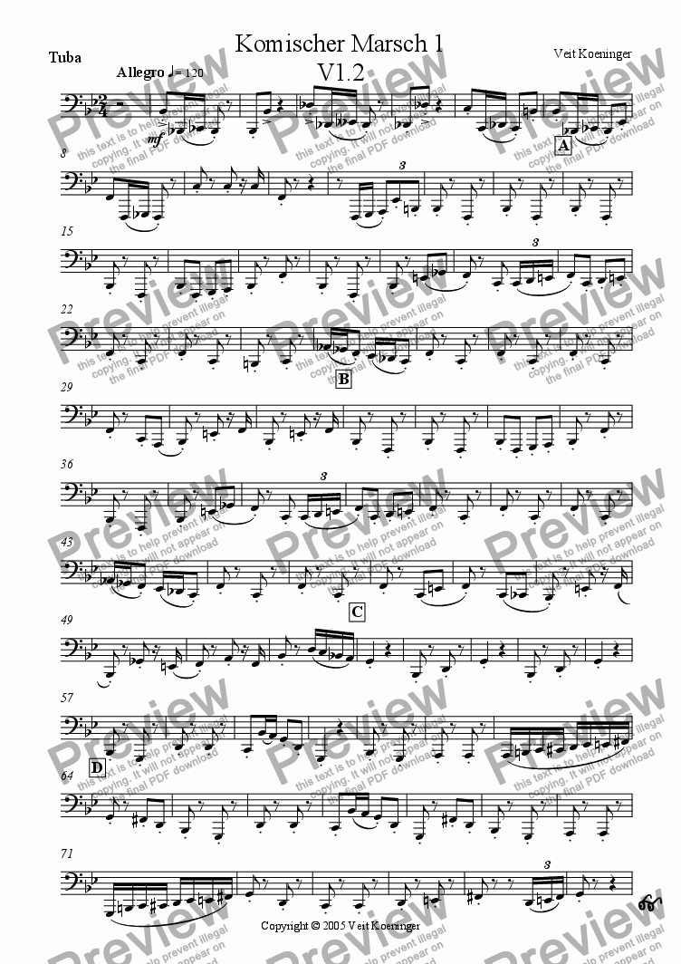page one of the tuba part from Comical march 1 for brass quintet