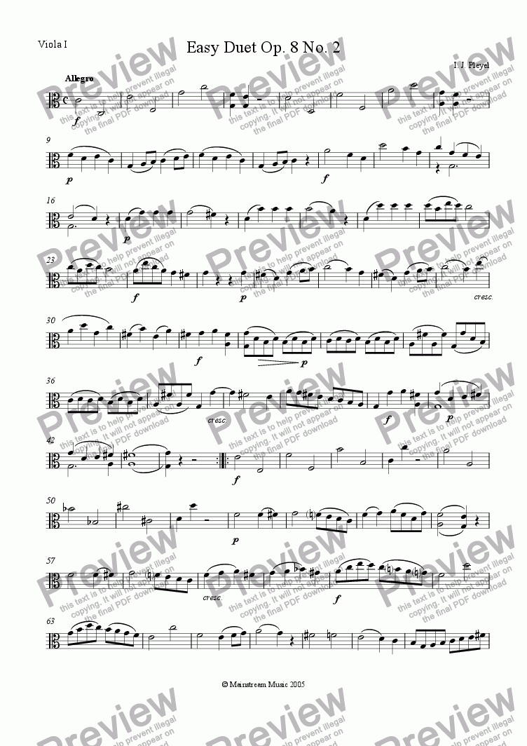page one of the Viola 1 part from Easy Duet Op. 8 No. 2 - Viola