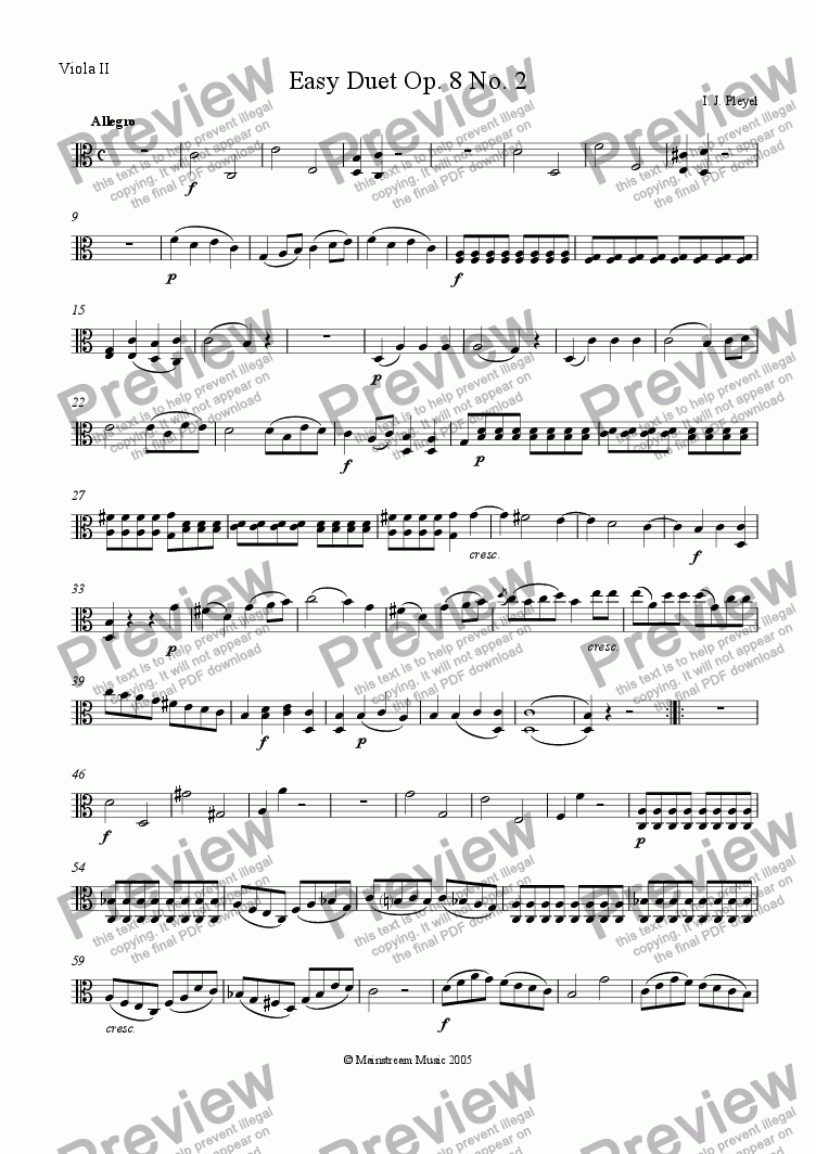 page one of the Viola 2 part from Easy Duet Op. 8 No. 2 - Viola