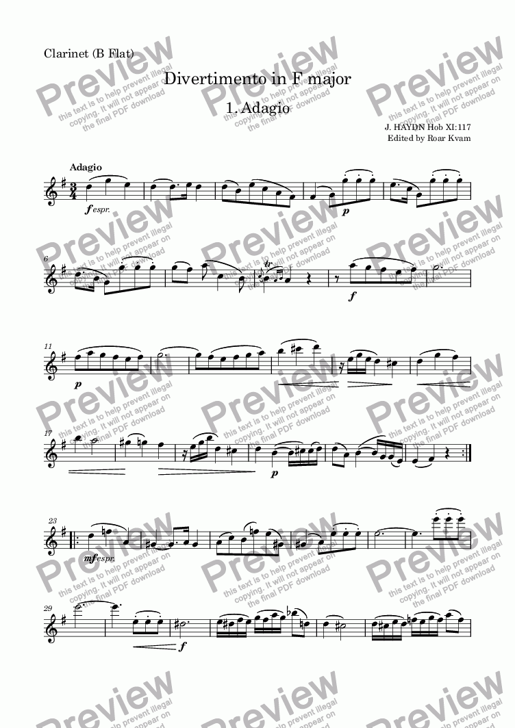 page one of the Clarinet in Bb part from Haydn: Divertimento in F major (Clarinet, Basset Horn and Bassoon)