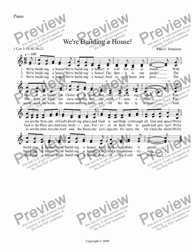 page one of the Piano part from We're Building a House!