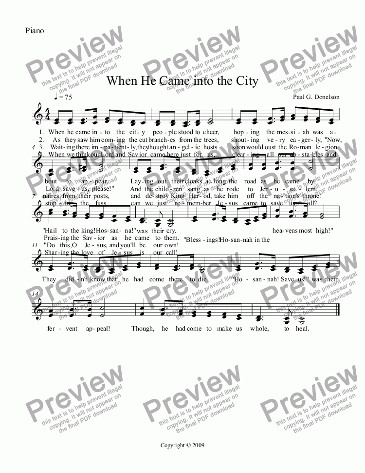 page one of the Piano part from When He Came into the City