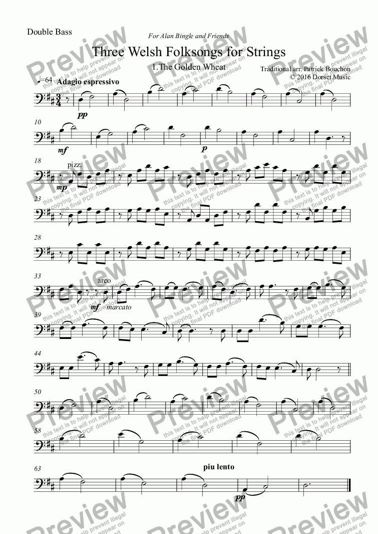 page one of the Double Bass part from Three Welsh Folksongs for Strings 1. The Golden Wheat