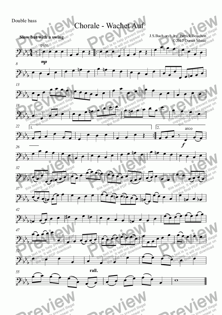 page one of the Double bass part from Wachet Auf by J. S. Bach