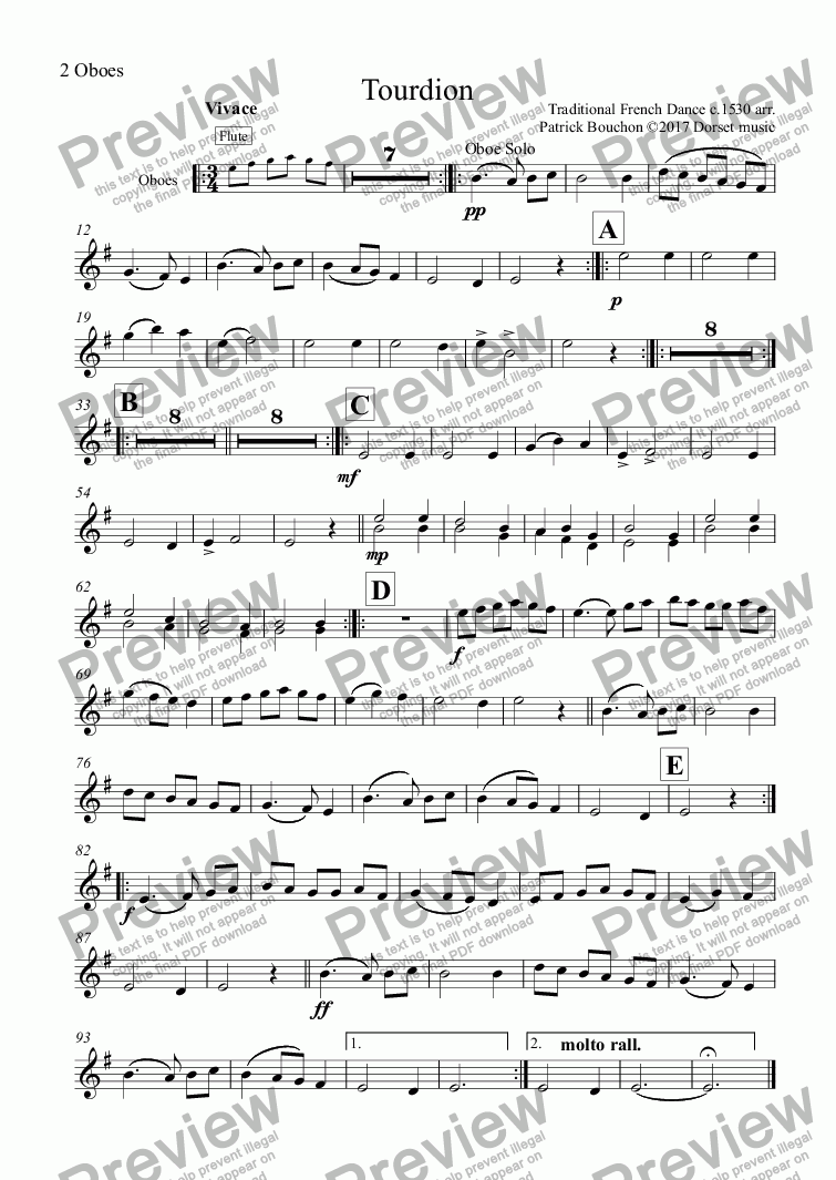 page one of the 2 Oboes part from Tourdion