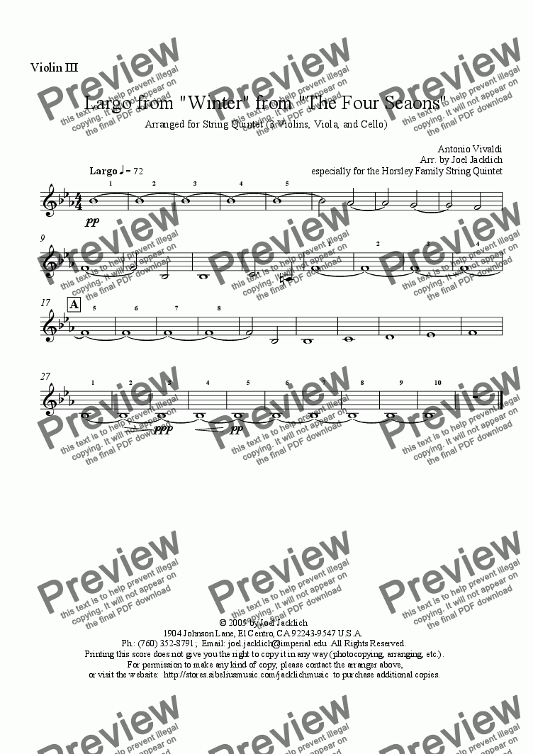 "page one of the Violin III part from Largo from The Four Season's ""Winter""  (for String Quintet - 3 violins, solo viola, & cello)"