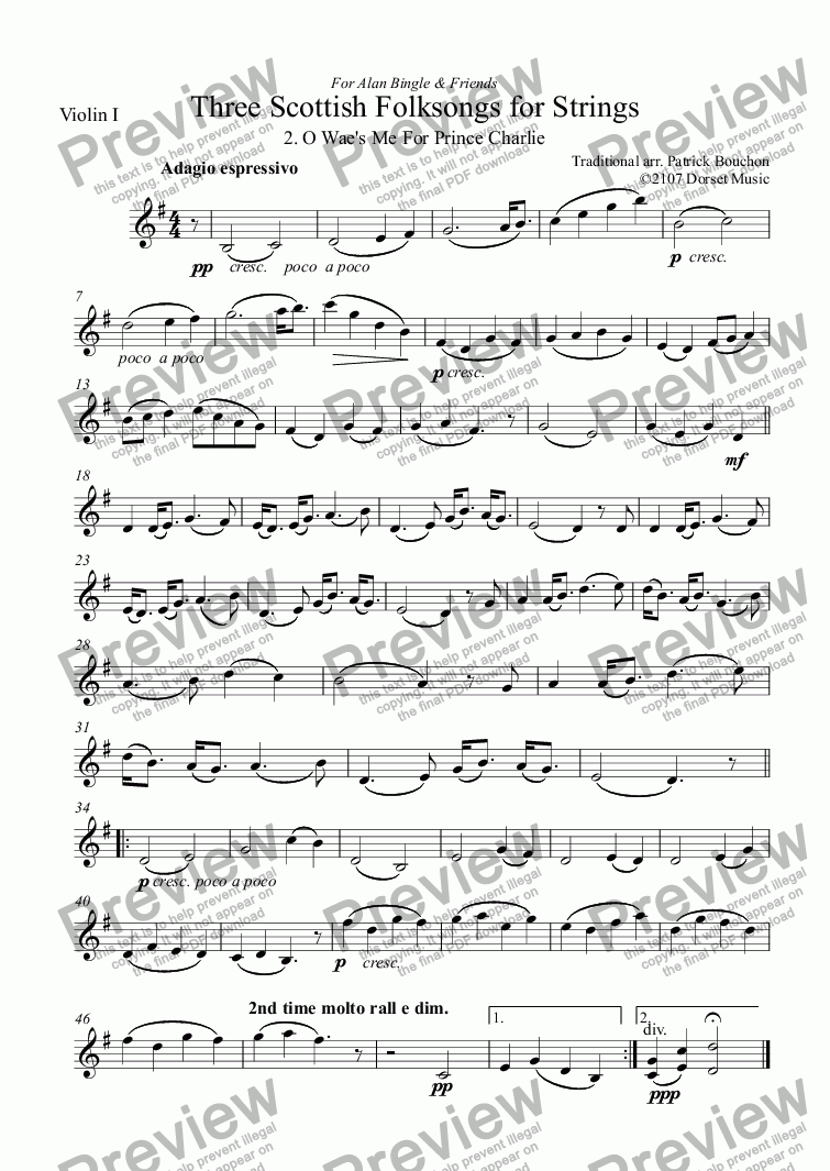 page one of the Violin I part from Three Scottish Folksongs for Strings 2 Wae's Me For Prince Charlie
