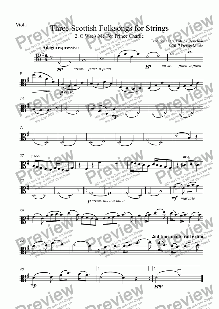 page one of the Viola part from Three Scottish Folksongs for Strings 2 Wae's Me For Prince Charlie